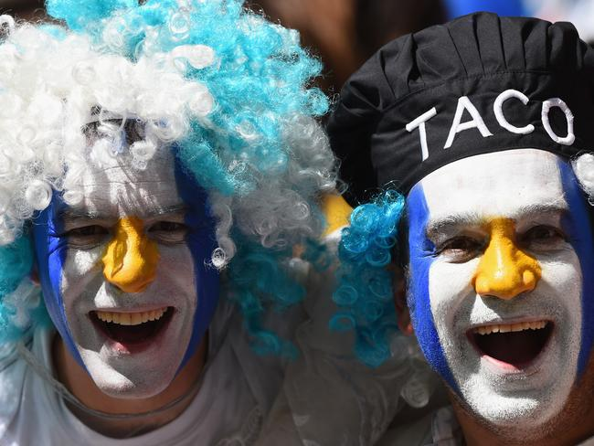Argentina fans enjoy the atmosphere prior to the 2014 FIFA World Cup Brazil Quarter Final match between Argentina and Belgium.