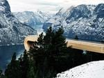 """<p>7. Aurland Lookout</p>  <p>This striking structure is a 30m-long wooden viewing platform that juts out 650m above one of Norway's most spectacular fjords. A pane of glass prevents visitors slipping beyond the edge.</p>  <a href=""""http://www.saunders.no/work/item/98-aurland-lookout"""">http://www.saunders.no/work/item/98-aurland-lookout</a>  <p>Picture: Bent Rene Synnevag / Nils Vik / Saunders Architecture</p>"""