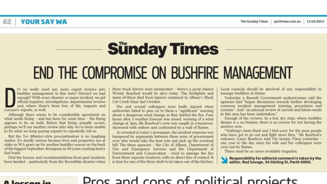 The Sunday Times editorial comment on October 13, 2013