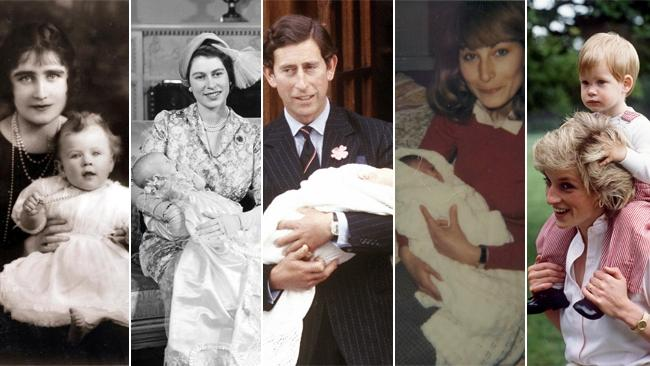 The royals as babies:: Queen Mother with Queen, Queen with Charles, Charles with William, Carole Middleton with Kate, Lady Di with Harry. Pictures: Getty Archive