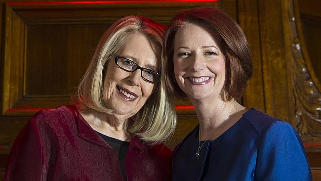 Anne Summers poses with former Prime Minister Julia Gillard before the event 'Anne Summers Conversations with Julia Gillard' at Melbourne Town Hall.