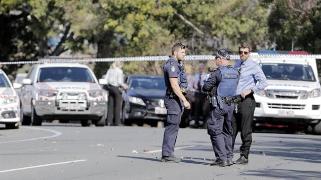 An elderly man, 72, was shot by police on Station Road at Woodridge after he threw rocks at them and then allegedly came at them with knives. Picture: AAP/Tim Marsden
