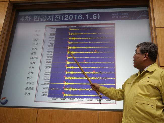 Seismic waves that were measured in South Korean cities, at the Korea Meteorological Administration centre today. Picture: Getty