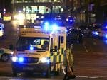 Emergency services work at Manchester Arena after reports of an explosion at the venue during an Ariana Grande concert. Picture: AP