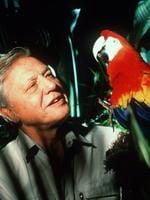British naturalist David Attenborough pictured with a parrot.