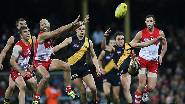 Richmond's Shane Edwards and Sydney's Jarrad McVeigh during AFL match between Sydney Swans v Richmond Tigers at the SCG. Picture: Hillyard Philip