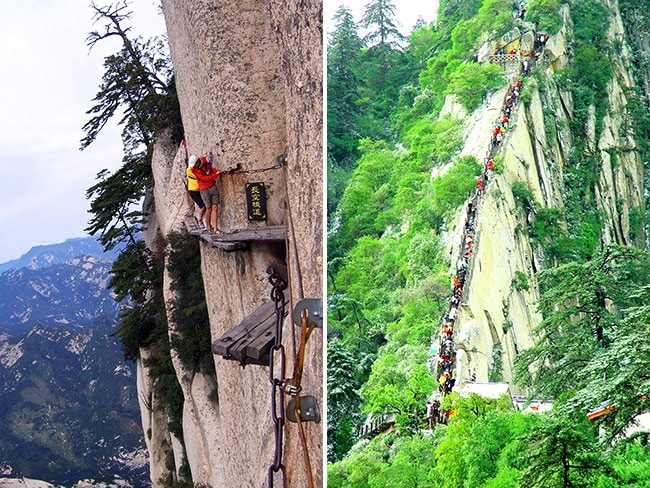 Daring travellers take om the Chang Kong Cliff Road. Picture: Austral/Rex Features