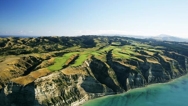 Lord of the pins ... An aerial view of the entire course perched on the cliffs at Cape Kidnappers in Hawkes Bay, New Zealand....