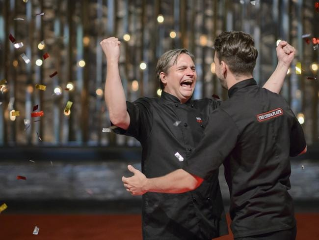 Will Stewart and Steve Flood after taking out this season of Seven's MKR/