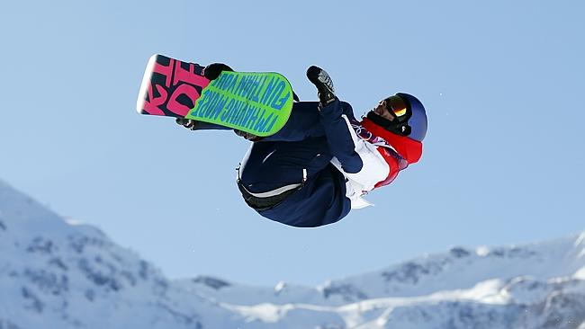 Britain's Billy Morgan in action in the men's snowboard slopestyle final. He finished 10th.