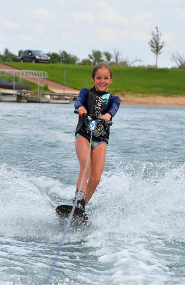 Loved the water ... Avid water skier Hally Yust, nine, contracted a rare brain-eating infection.