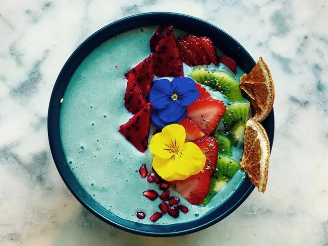 Matcha Mylkbar is set to introduce a series of 'blue' dishes to its menu like this 'Papa smurf' smoothie bowl. Picture: Matcha Mylkbar