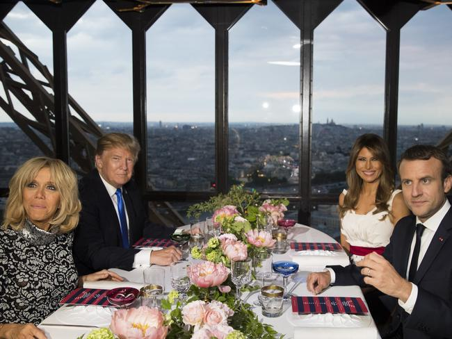 The Trumps dined with the Macrons at the Eifell Tower on Thursday. Picture: AP Photo/Carolyn Kaster.