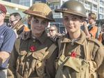 Blake and Riley Swanson during the Anzac Day March in Innisfail. Picture: Chris Holmes