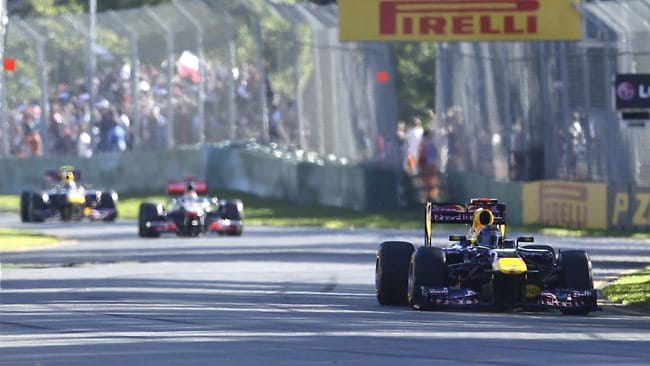 Everyone will be chasing Red Bull's reigning world champion Sebastian Vettel (front) at the Australian Grand Prix in March. Picture: AP