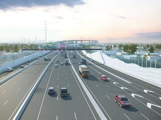 West Gate Tunnel Project - West Gate Fwy at Fogarty Ave - Artist Impression Only