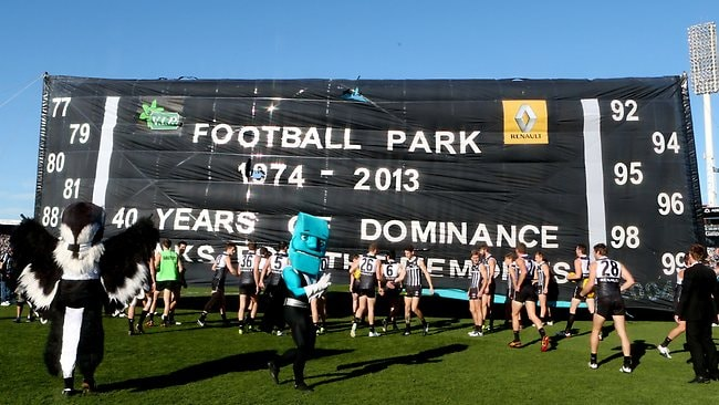 Port Adelaide celebrates its final appearance at AAMI Stadium. Picture: Sarah Reed