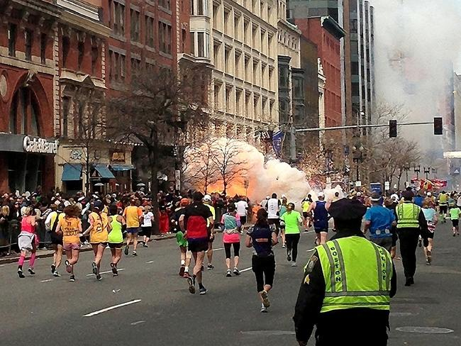 Deadly explosion ... a bomb explodes near the finish line of the Boston Marathon in 2013.
