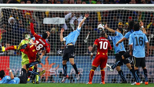 What a save! Luis Suarez handles expertly in the quarterfinal against Ghana four years ago.