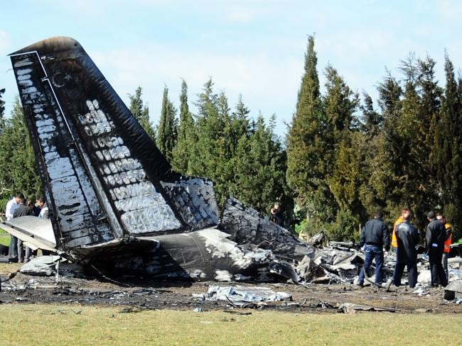 Ill-fated ... the plane went down after one of the engines burst into flames, a Libyan mi