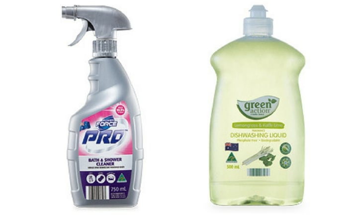 CLEANING PRODUCTS (ALDI) WON IN THE DISHWASHING LIQUID AND HOUSEHOLD CLEANING CATEGORIES: The best dishwashing liquid on the market is the Green Action Dishwashing Liquid from ALDI and retails for $2.29 a bottle. When it comes to cleaning the bathroom the Power Force Pro Bath and Shower cleaner, also from ALDI at $2.29 was named best.