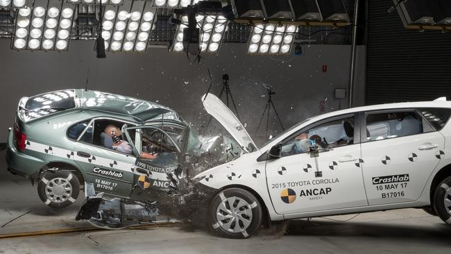 Modern cars' crumple zones better protect occupants.