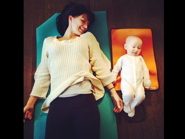 "Famous yogi-wife Hilaria Baldwin with daughter Carmen Gabriela, ""That time when we were monkeying around in savasana"" Picture: Instagram"