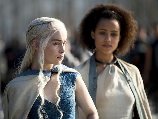 Game of thrones ... Gotemilia Clarke stars as Daernerys Targaryen and Nathalie Emmanuel as Missandei in the HBO series shown in Australia on Foxtel's showcase.