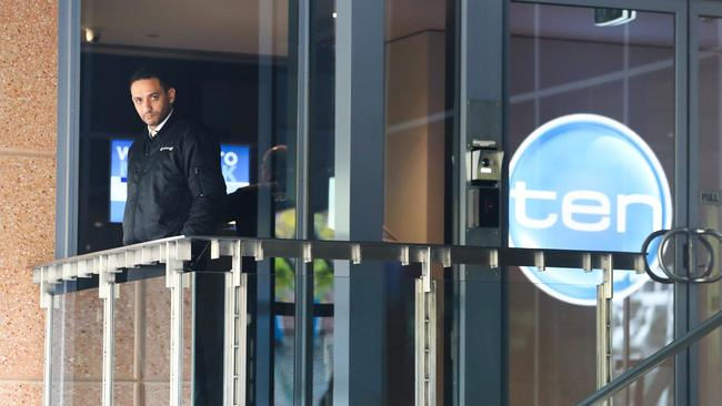 Staff outside Network Ten's offices in Sydney. Picture: Renee Nowytarger