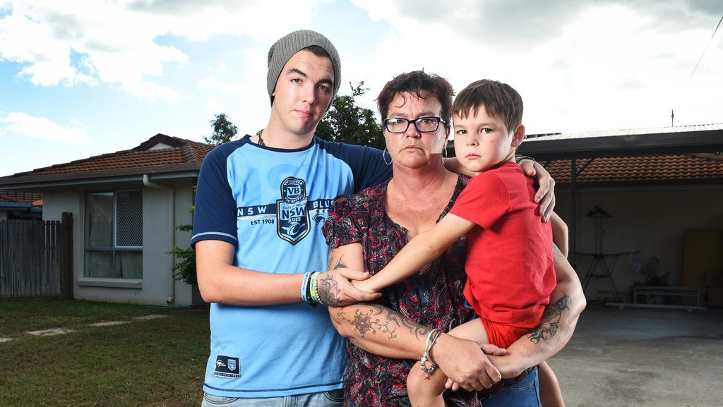 Nadine Rackemann from Rasmussen with her son Josh Rackmann and grandson Leo Lawford, 5, after her assistance dog was mauled to death by a neighbour's dog. Picture: Zak Simmonds