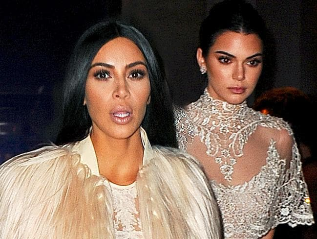 Kim Kardashian and Kendall Jenner filming a cameo for Oceans 8. Picture: Splash
