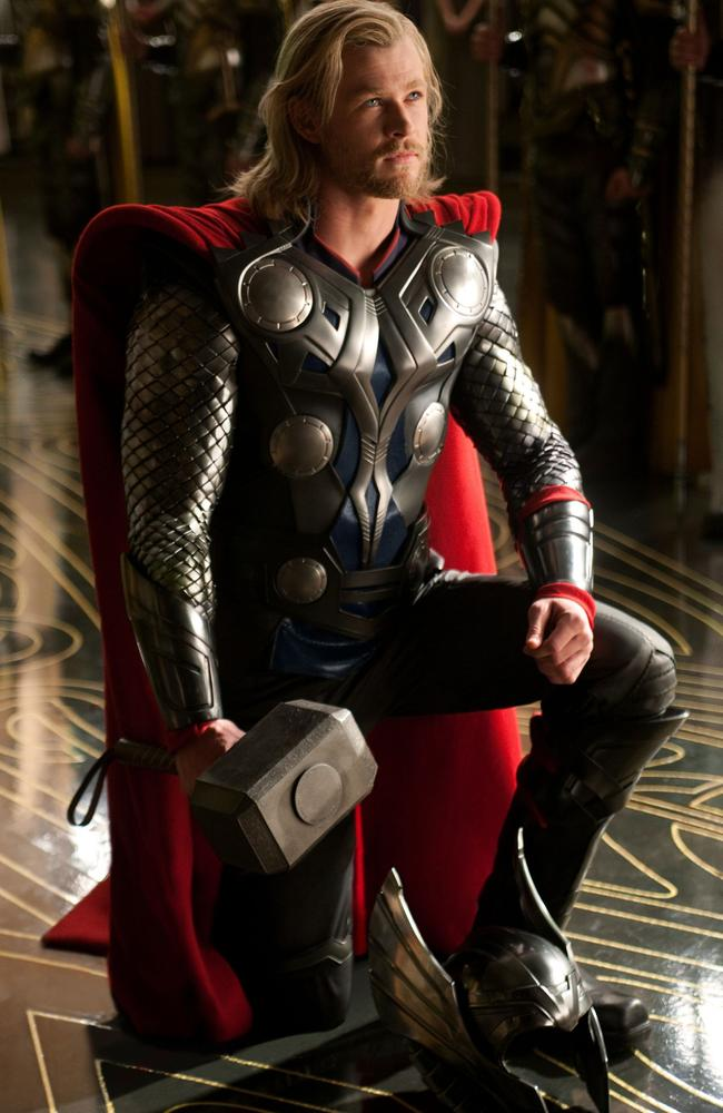 Star ... Chris Hemsworth on set as Thor.