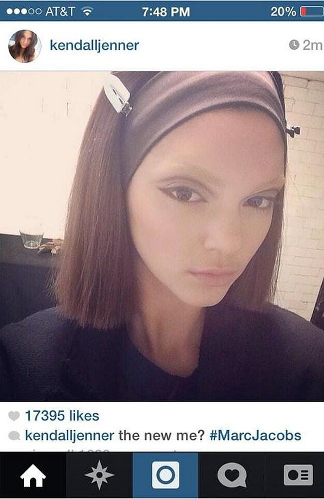 Kendall Jenner's deleted Instagram backstage at Marc Jacob's New York Fashion Week show. Picture: Instagram