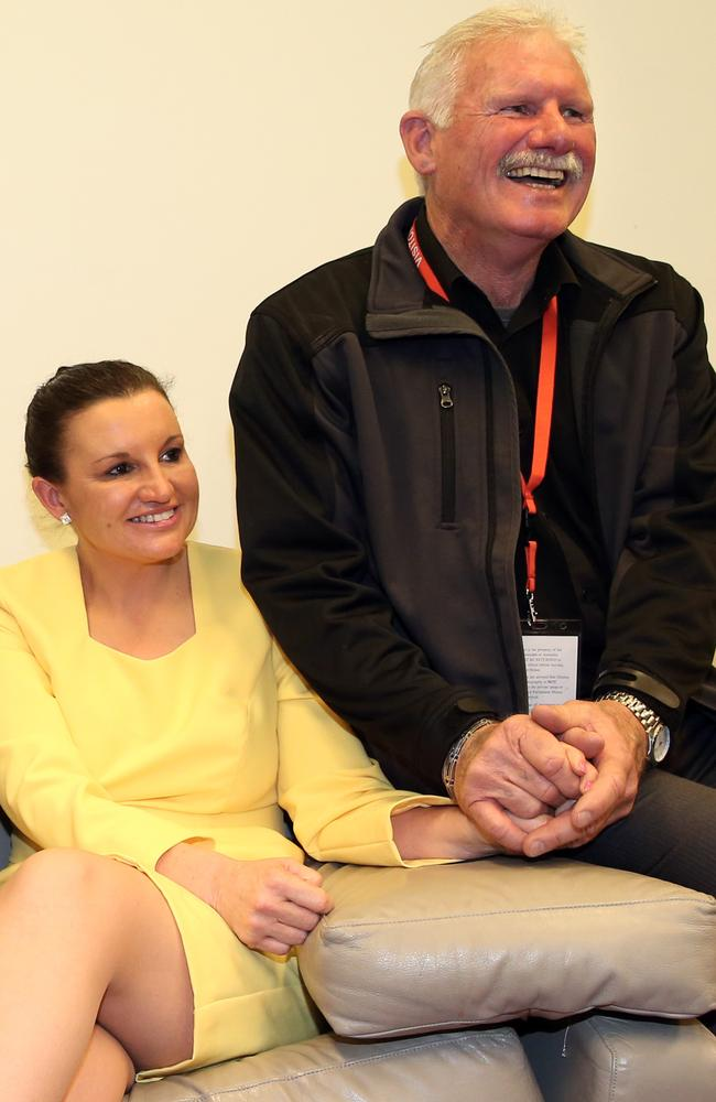 Jacqui Lambie with her Scottish-born father Tom in her office after delivering her maiden speech in 2014.