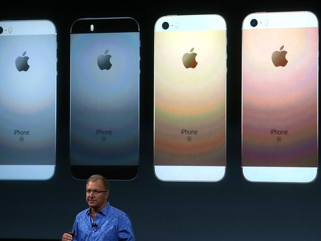Unveiling ... Apple VP Greg Joswiak announces the new iPhone SE. Picture: Justin Sullivan/Getty Images/AFP