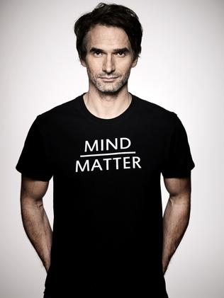 Todd Sampson's T-shirt shows what he puts under extreme tests in new series Todd Sampson's BodyHack. Picture: Supplied