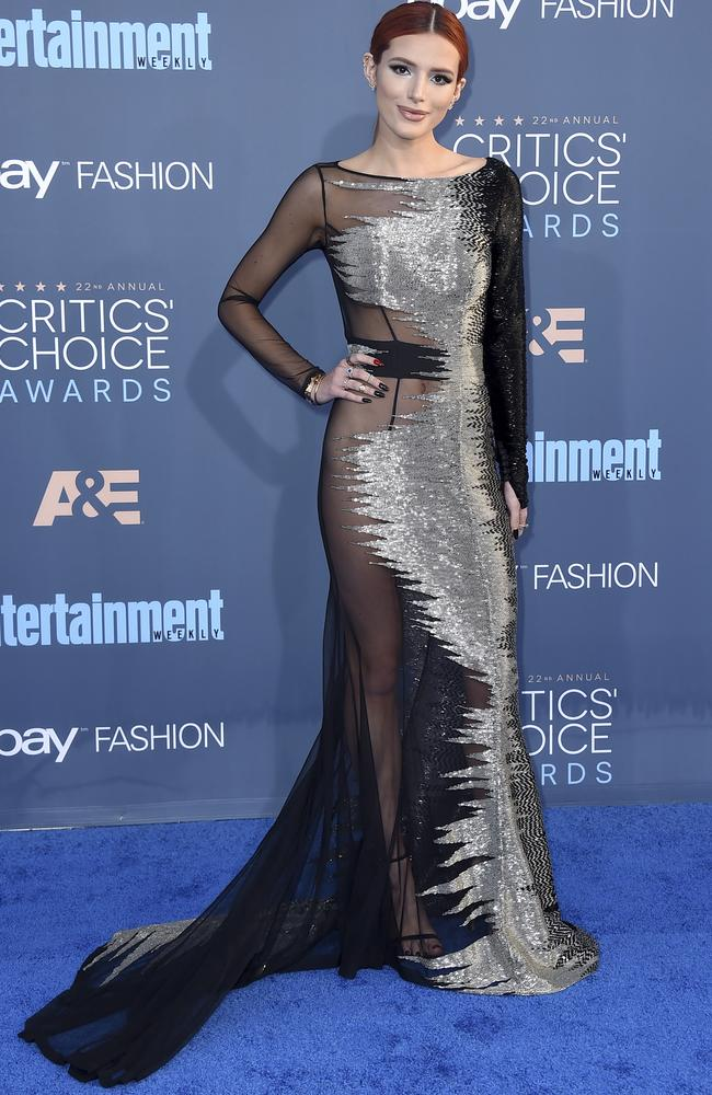 Bella Thorne arrives at the 22nd Critics' Choice Awards in Santa Monica.