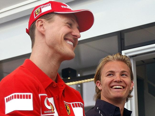 Michael Schumacher with current F1 champion Nico Rosberg in 2006.