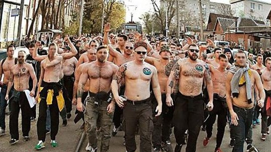 Russian football hooligans on the march.