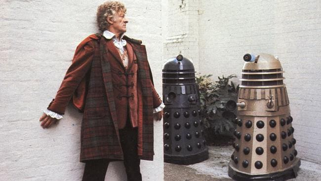 Back in time ... Actor Jon Pertwee looks for some stairs.