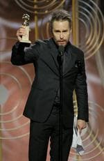 Sam Rockwell accepts the award for Best Performance by an Actor in a Supporting Role in a Motion Picture for Three Billboards Outside Ebbing, Missouri during the 75th Annual Golden Globe Awards. Picture: Getty
