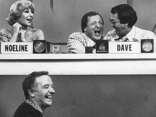 What a line-up ... Presenter Graham Kennedy joking with contestants Ugly Dave Gray, Noeline Brown and Stuart Wagstaff on Blankety Blanks.