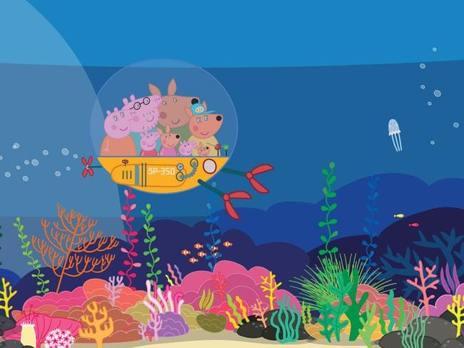 Peppa Pig's first Australian holiday includes a scuba diving excursion with the Kangaroo family. Picture: Supplied