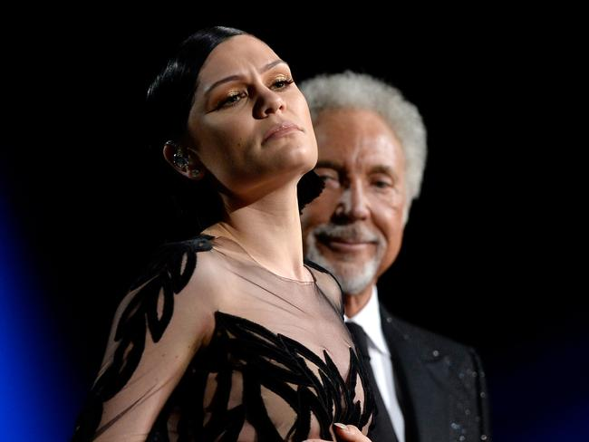 They're the voice ... Jessie J and Tom Jones duet. Picture: Kevork Djansezian/Getty Images