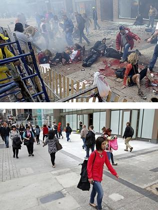 Then and now ... views of Boylston Street on April 15, 2013 and April 10, 2014 show people on the ground after the first of two bombs exploded near the finish line of the 2013 Boston Marathon, and pedestrians walking along the same footpath almost a year later. Picture: Ken McGagh and Elise Amendola