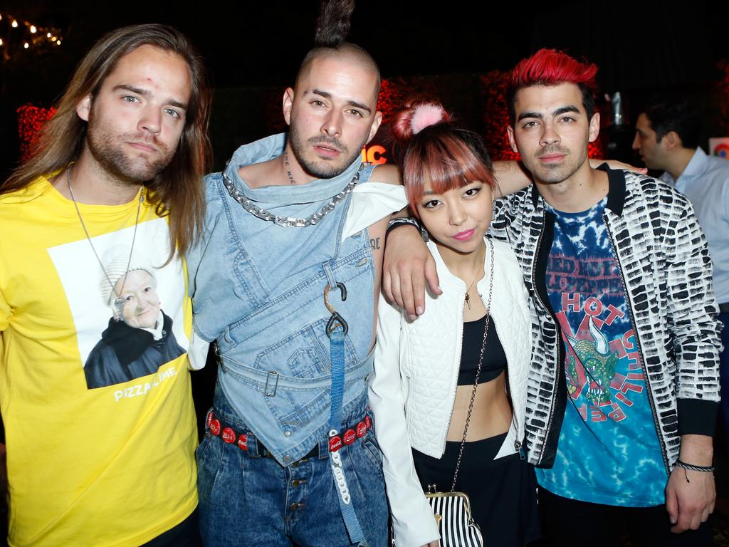 Members of the musical group DNCE Jack Lawless, Cole Whittle, JinJoo Lee and Joe Jonas attend the Republic Records Grammy Celebration on February 15, 2016 in Los Angeles. Picture: Getty