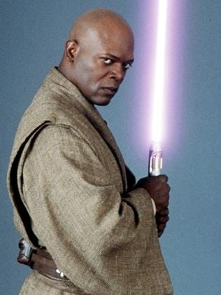 Actor Samuel L. Jackson in character as Jedi Master Mace Windu.