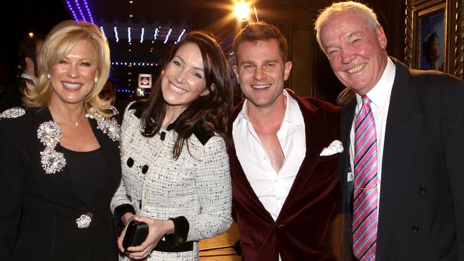 KAK, wearing her heart necklace, with Lisa and David Campbell and John Kennerley at the opening night of 'Mary Poppins' at The Capitol Theatre in Haymarket, Sydney. Picture: NewsCorp