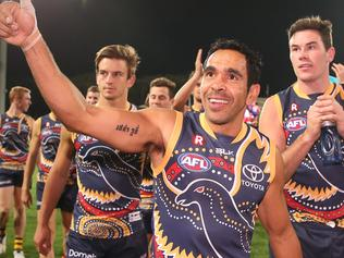 Eddie Betts of the Crows waves to the crowd after his team defeated the Giants during the Round ten AFL match between the Adelaide Crows and the Greater Western Sydney Giants at Adelaide Oval in Adelaide, Saturday, May 28, 2016 (AAP Image/Ben Macmahon) NO ARCHIVING, EDITORIAL USE ONLY