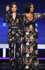 Host Olivia Munn and Niecy Nash speak onstage during The 23rd Annual Critics' Choice Awards at Barker Hangar on January 11, 2018 in Santa Monica, California. Picture: Getty
